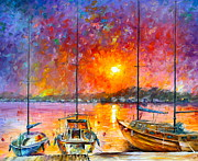 Yacht Painting Originals - Ships Of Freedom by Leonid Afremov