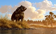 Dinosaurs Digital Art Posters - Short Faced Bear Poster by Daniel Eskridge