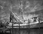 Captains Prints - Shrimpin Boat Captain and Mates Print by East Coast Barrier Islands Betsy A Cutler