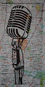 Lino Print Prints - Shure 55s on map Print by William Cauthern