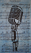 Linocut Drawings Originals - Shure 55s on music by William Cauthern