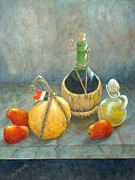 Wine Bottle Art Paintings - Sicilian Table by Pamela Allegretto