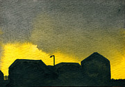 Indiana Scenes Painting Metal Prints - Silhouette Farm 1 Metal Print by R Kyllo