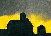 Indiana Scenes Paintings - Silhouette Farm 2 by R Kyllo