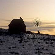 Wintry Prints - Silhouette of a farm and a tree. Cezallier. Auvergne. France Print by Bernard Jaubert