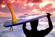 Tropical Photographs Metal Prints - Single fin surfer Metal Print by Sean Davey