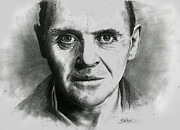Serial Drawings Framed Prints - Sir Anthony Hopkins as Hannibal Lecter Framed Print by Vojkan Selakovic