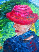 Impasto Oil Paintings - Sisi with hat by Mario  Perez