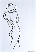 Female Models Body Framed Prints - Sketch of a Nude Woman Framed Print by Anna Androsovski