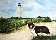 Split Rail Fence Originals - Skipper At Cape May Light  by Nancy Patterson