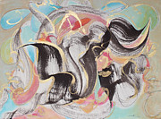 Abstract Pastel Metal Prints Posters - Skunk Poster by Asha Carolyn Young