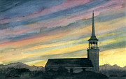 Ashcan School Paintings - Sky and Steeple by Arthur Barnes