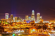 Uptown Charlotte Posters - Skyline of uptown Charlotte North Carolina at night Poster by Alexandr Grichenko