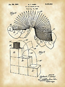 Parchment Framed Prints - Slinky Patent Framed Print by Stephen Younts