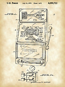 Parchment Framed Prints - Slot Machine Patent Framed Print by Stephen Younts