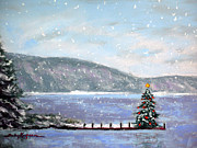 Christmas Card Pastels Prints - Smith Mountain Lake Christmas Print by Shelley Koopmann