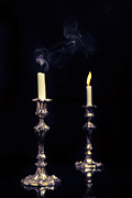 Lit Metal Prints - Smoking Candle Metal Print by Christopher and Amanda Elwell