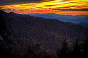 Blue Ridge Pyrography Prints - Smoky Mt Sunset Print by David Davis