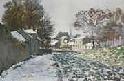 Snowfall Paintings - Snow at Argenteuil by Claude Monet