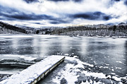 Winter Storm Photos - Snow Big Ditch Lake by Thomas R Fletcher