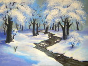 Serenity Landscapes Paintings - Snow  Day  by Shasta Eone
