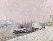 Misty Bridge Posters - Snow in Rouen Poster by Jean Baptiste Armand Guillaumin