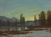 Snow-covered Landscape Painting Posters - Snow in the Rockies Poster by Albert Bierstadt