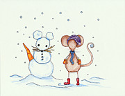 Christmas Card Drawings Posters - Snow Mouse and Friend Poster by Sarah LoCascio
