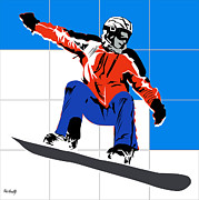 Basket Ball Digital Art Prints - Snowboard Print by Roby Marelly