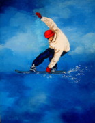 Serenity Landscapes Paintings - Snowboard by Shasta Eone