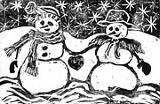 Print Making Paintings - Snowman Couple by Ellen Miffitt