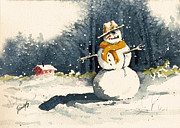Cold Metal Prints - Snowman Metal Print by Sam Sidders