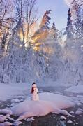 Snowy Evening Prints - Snowman Standing On A Small Island Print by Kevin Smith