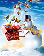 Butterfly Digital Art Prints - Snowman With A Gift Print by Ned Levine