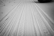 Sask Prints - snowmobile tracks in the snow Kamsack Saskatchewan Canada Print by Joe Fox