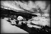 White Arched Bridge Prints - Snowy Bridge Print by Beverly Cash