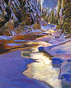 Snow-covered Landscape Painting Posters - Snowy Creek Poster by David Lloyd Glover