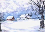 Snowy Trees Paintings - Snowy Farm by Bette Orr