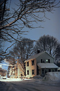 Winter Storm Metal Prints - snowy night in Northampton Metal Print by HD Connelly