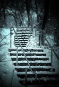Snowy Night Photo Posters - Snowy Stairway Poster by Jill Battaglia