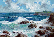 Crashing Surf Paintings - Solitude by Philip Lee