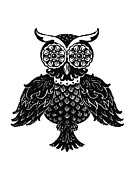 Black And White Owl Paintings - Sophisticated Owls 1 of 4 by Kyle Wood