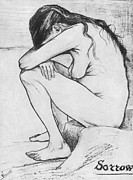 Post Drawings - Sorrow  by Vincent Van Gogh