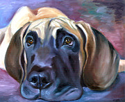 Great Dane Oil Paintings - Soulful - Great Dane by Lyn Cook