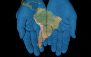 French Guiana Prints - South America In Our Hands Print by Jim Vallee