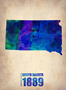 Dakota Posters - South Carolina Watercolor Map Poster by Irina  March