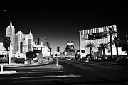 Looking North Framed Prints - south Las Vegas boulevard at the excalibur casino looking north from paradise Nevada USA Framed Print by Joe Fox
