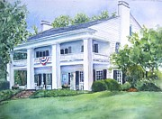 Manor Painting Posters - Southern home Poster by Patricia Pushaw