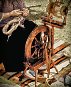 Spinning Wheel Prints - Spinning Wool Print by Robert Frederick
