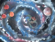 Outer Space Painting Framed Prints - Spiral Galaxy Om Framed Print by Thomas Roteman